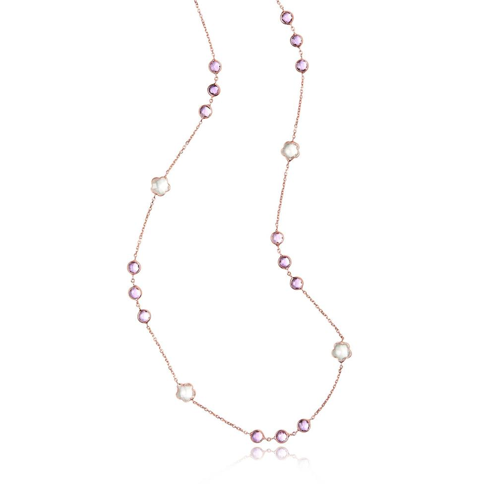 Bloom 18ct Rose Gold Amethyst Necklace 60cm Thumbnail Image 2