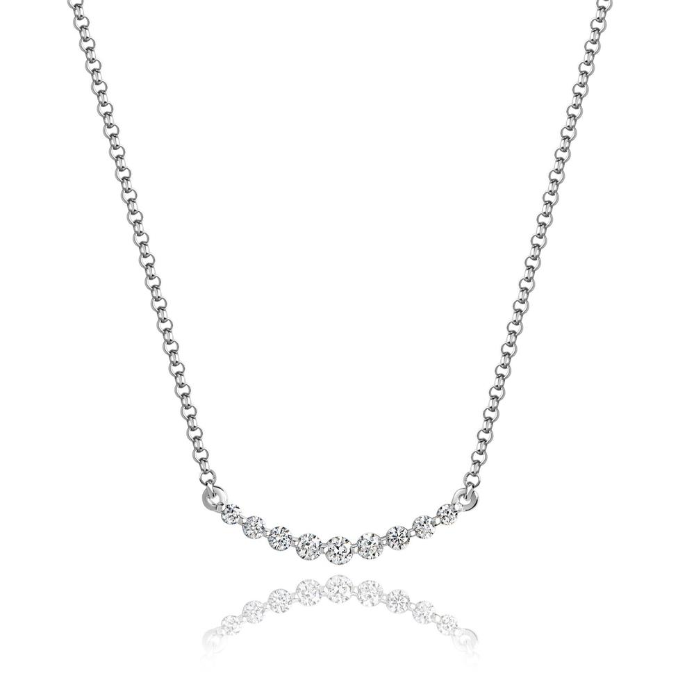 18ct White Gold Curved Bar Diamond Necklace Image 1