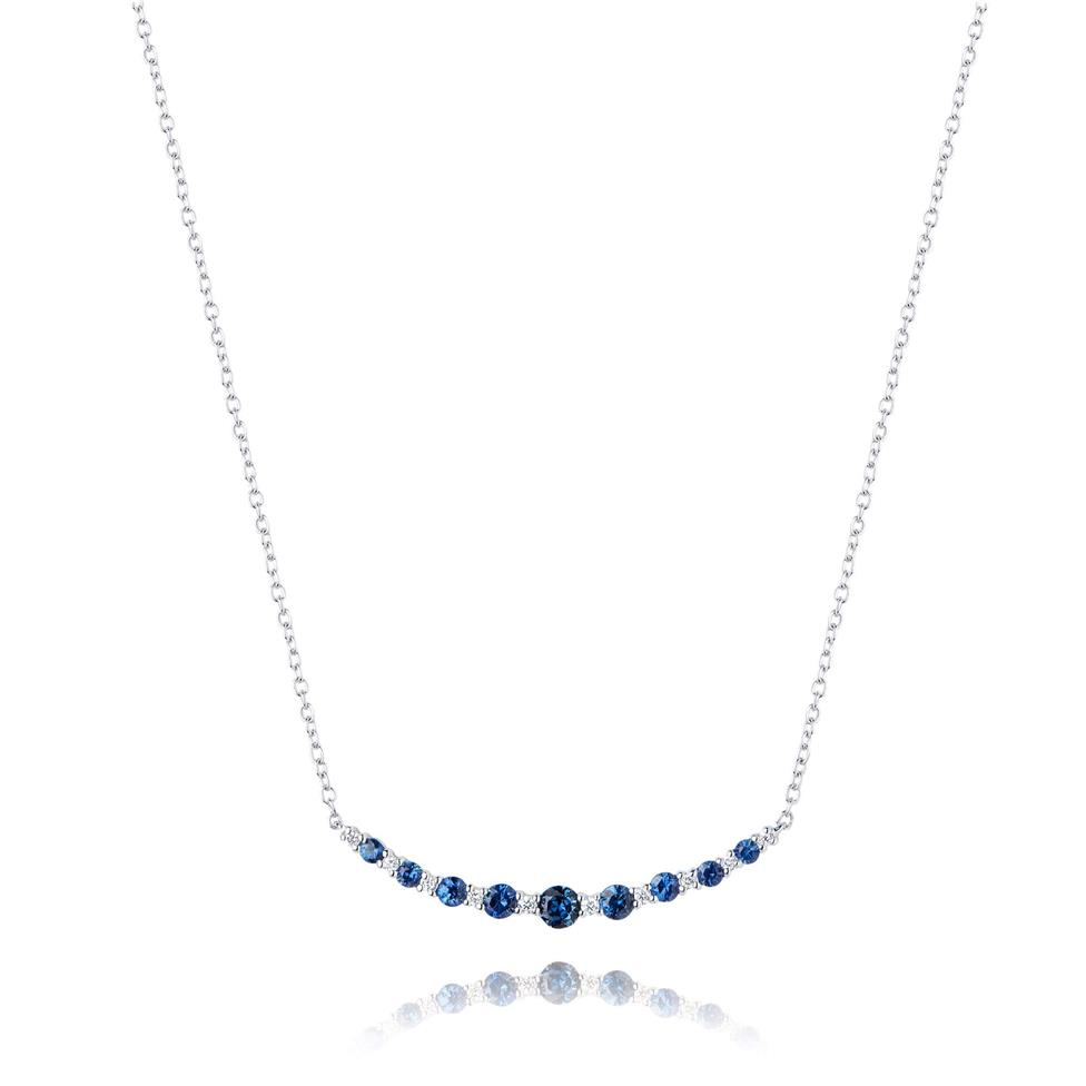 18ct White Gold Sapphire and Diamond Necklace Thumbnail Image 0