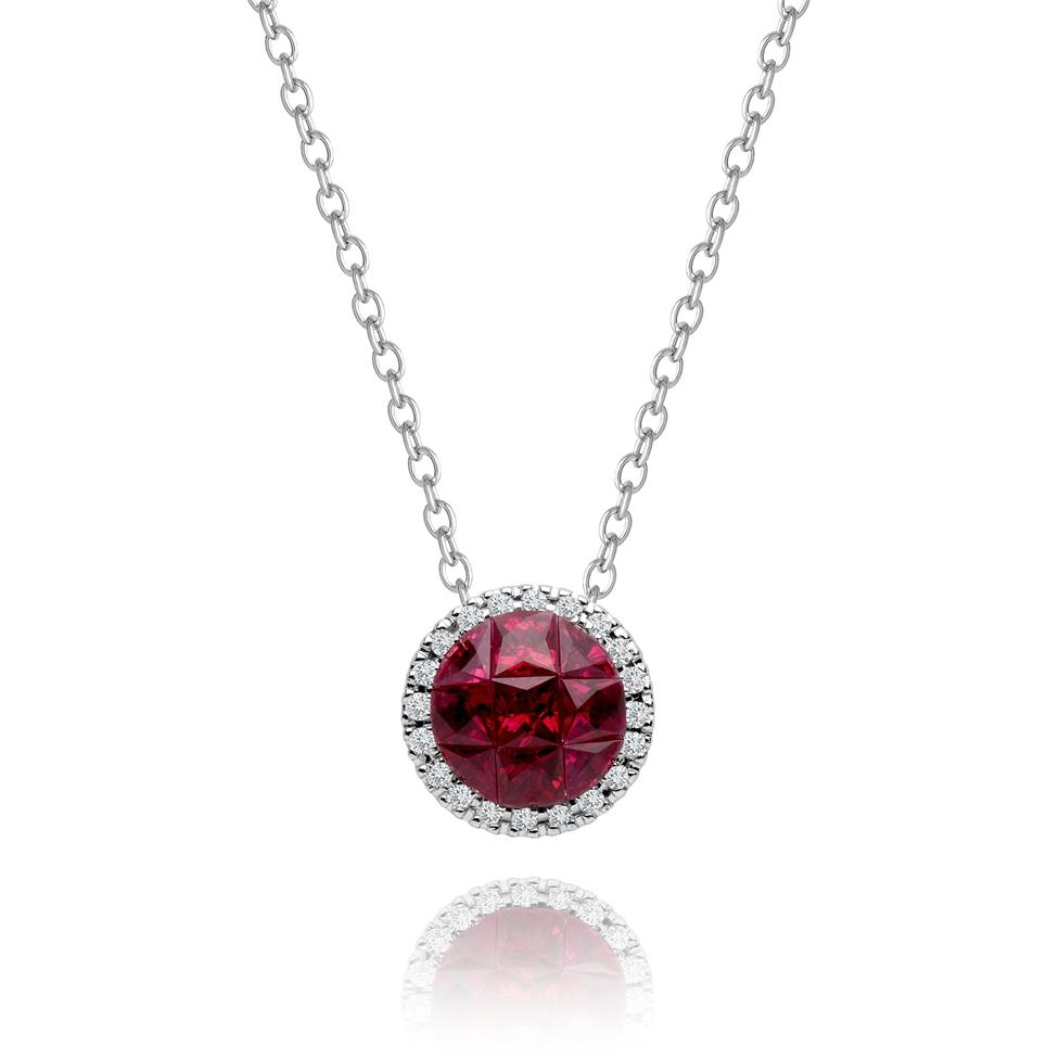 Mosaic 18ct White Gold Ruby and Diamond Necklace Thumbnail Image 0