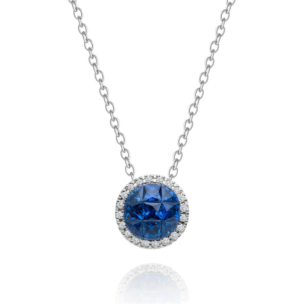 Mosaic 18ct White Gold Sapphire and Diamond Necklace Thumbnail Image 0