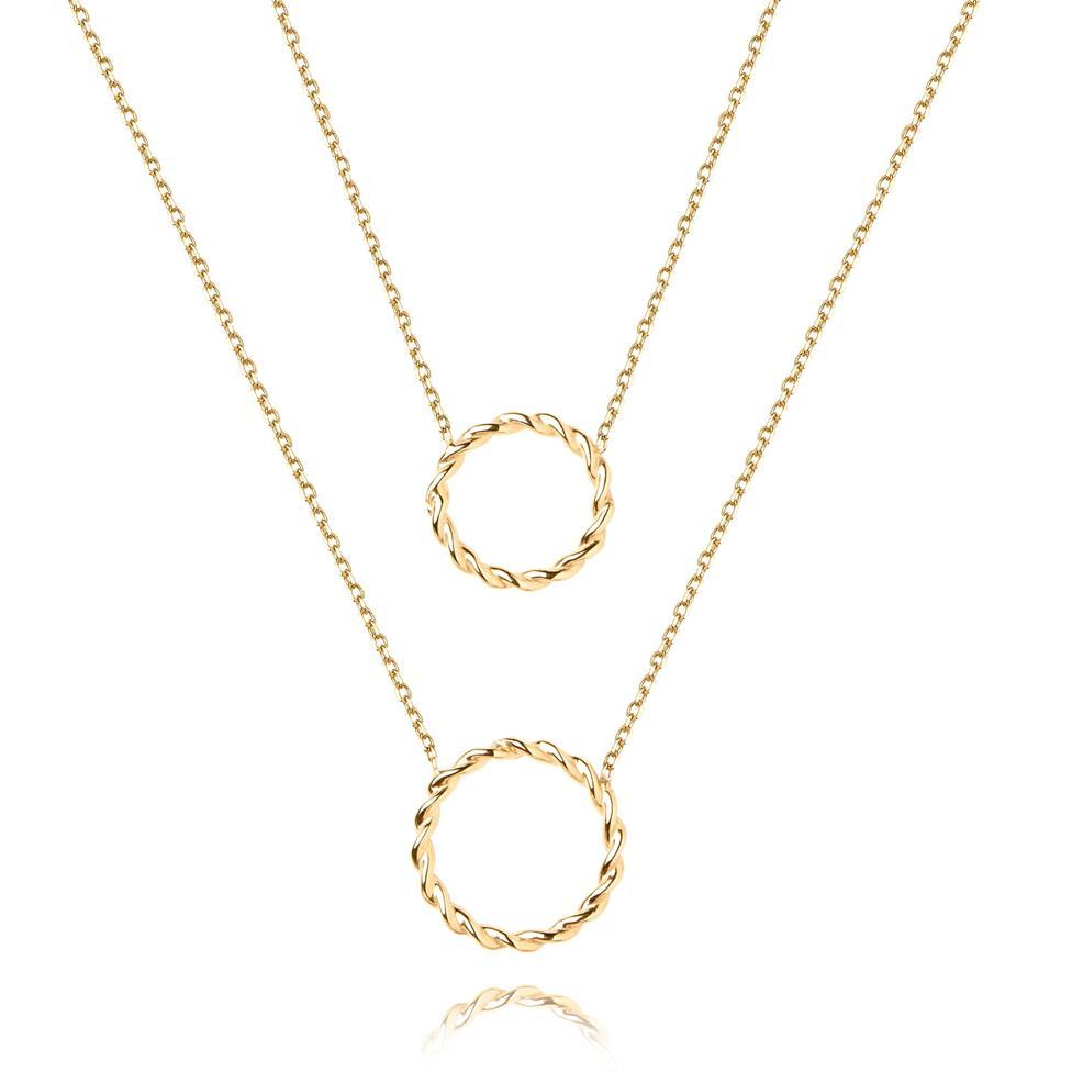 Aura 18ct Yellow Gold Circle Design Double Necklace Thumbnail Image 0