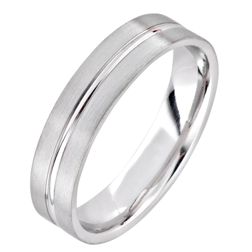 Platinum Modern Groove Wedding Ring Thumbnail Image 0