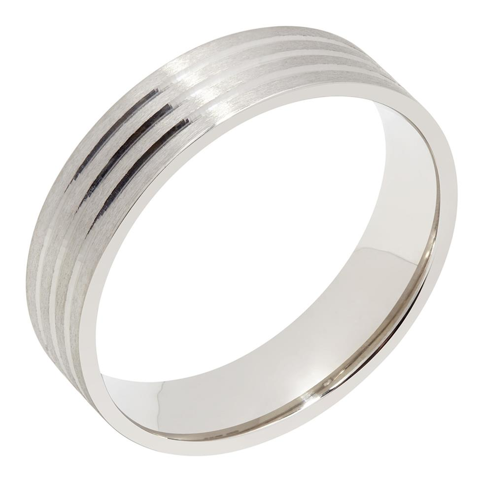 Palladium Triple Groove Wedding Ring Thumbnail Image 0