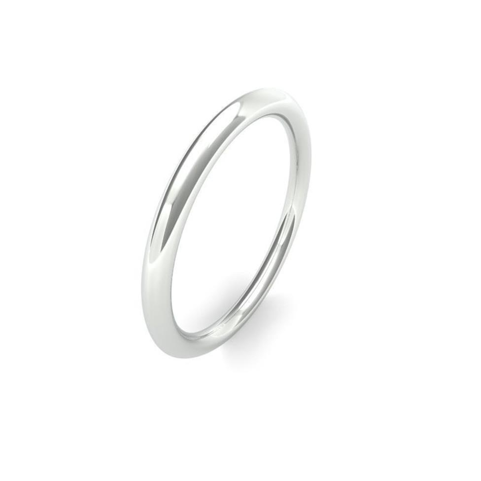 18ct White Gold Heavy Traditional Court Wedding Ring Image 1