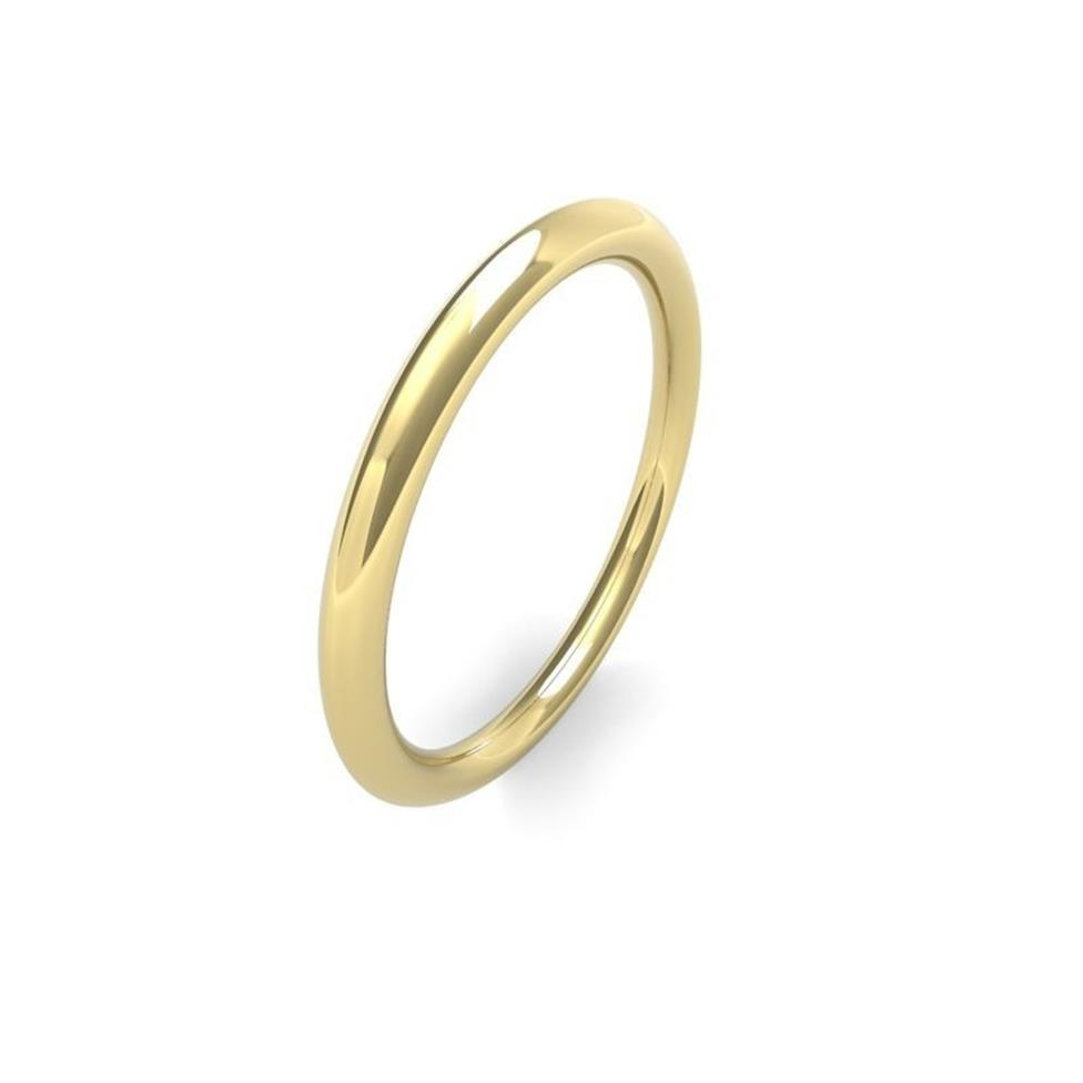 18ct Yellow Gold Heavy Traditional Court Wedding Ring Image 1