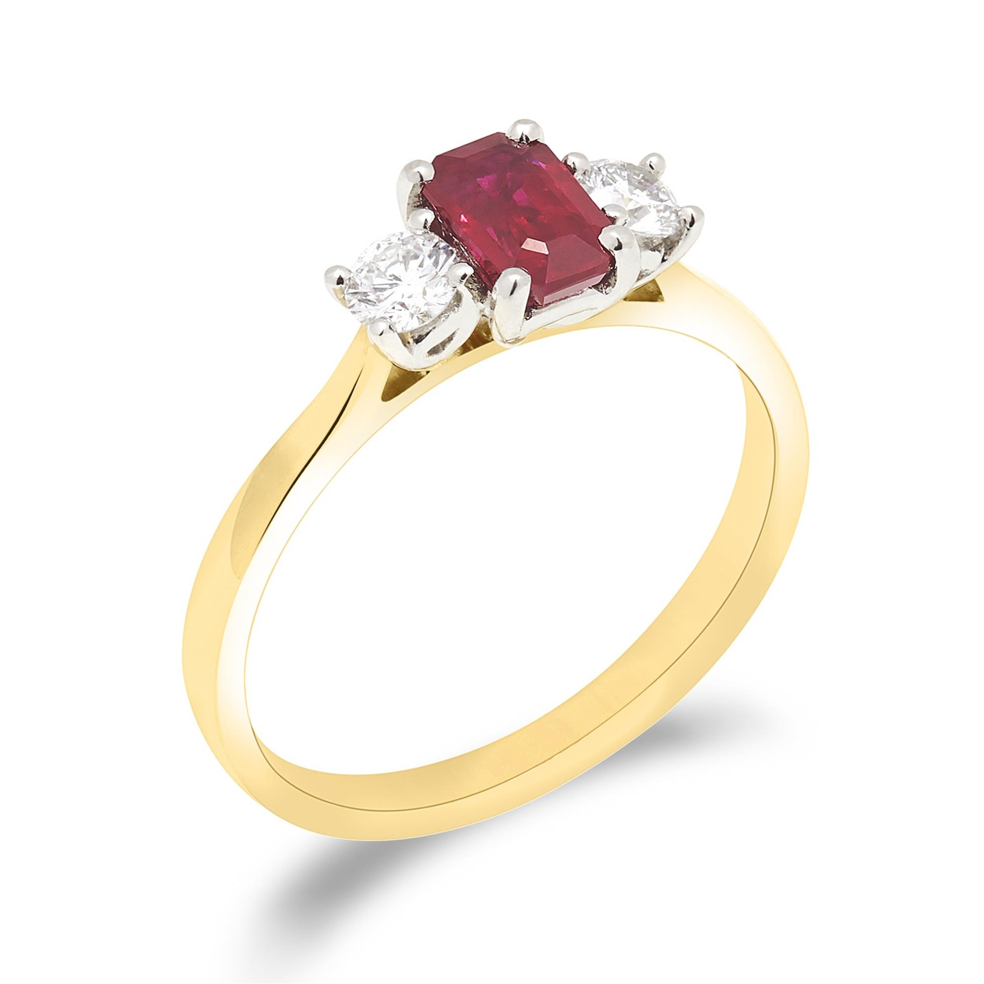 Emerald Cut Ruby And Diamond Ring Pravins