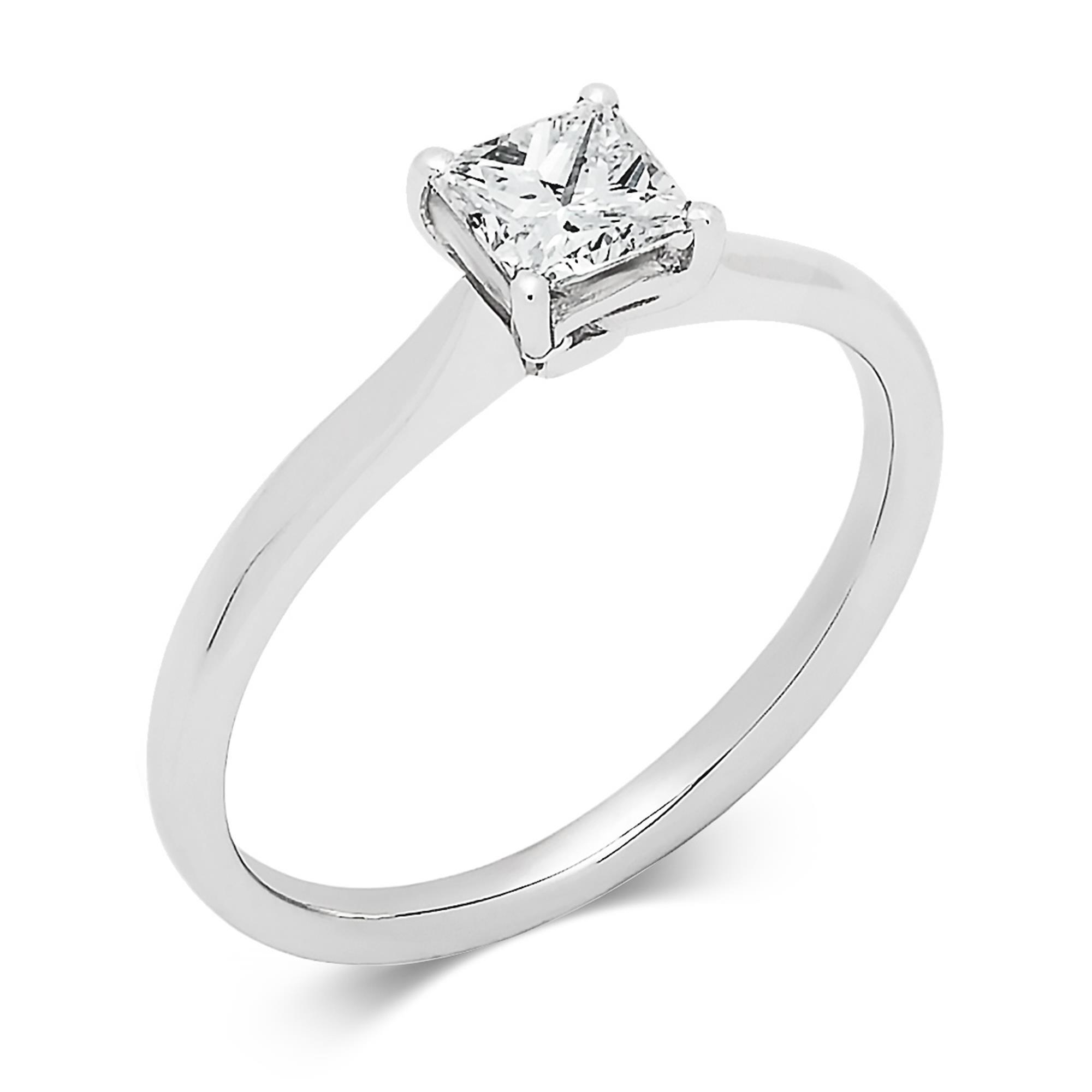 Classic Design Princess Cut Diamond Solitaire Ring 0 50ct Pravins