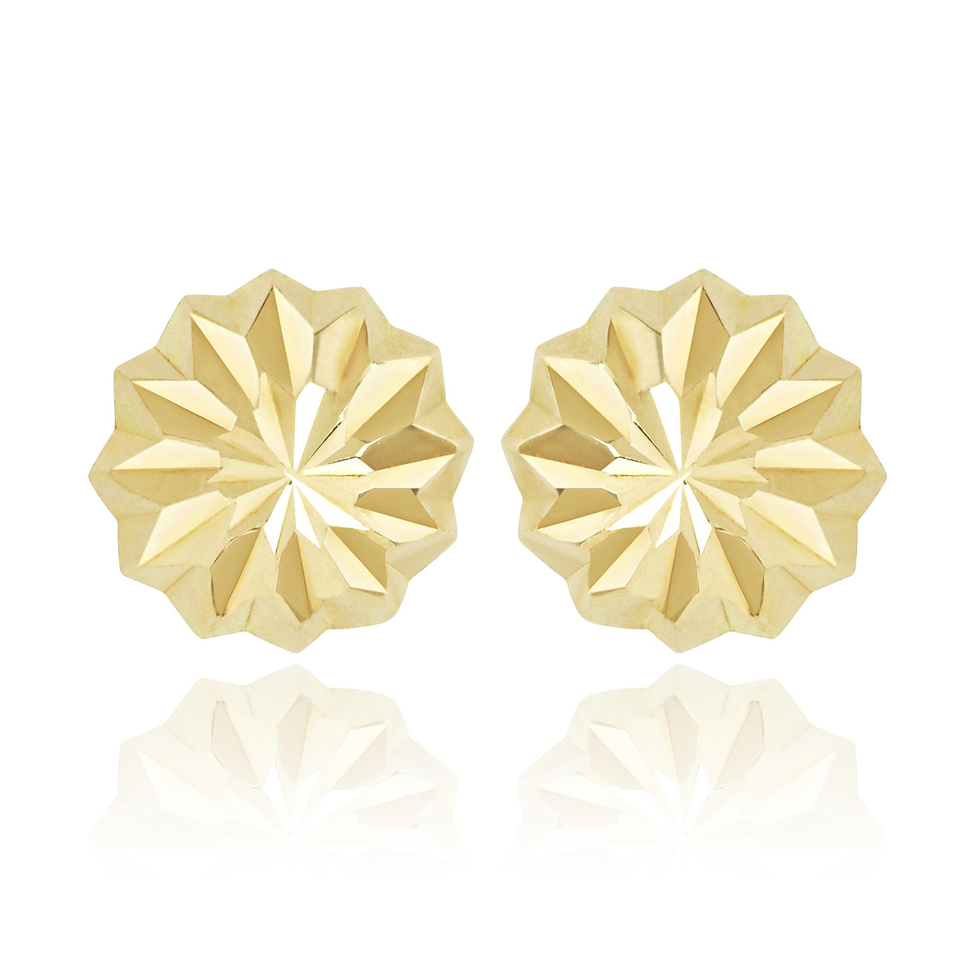 27d044067 18ct Yellow Gold Faceted Dome Stud Earrings | Pravins Jewellers