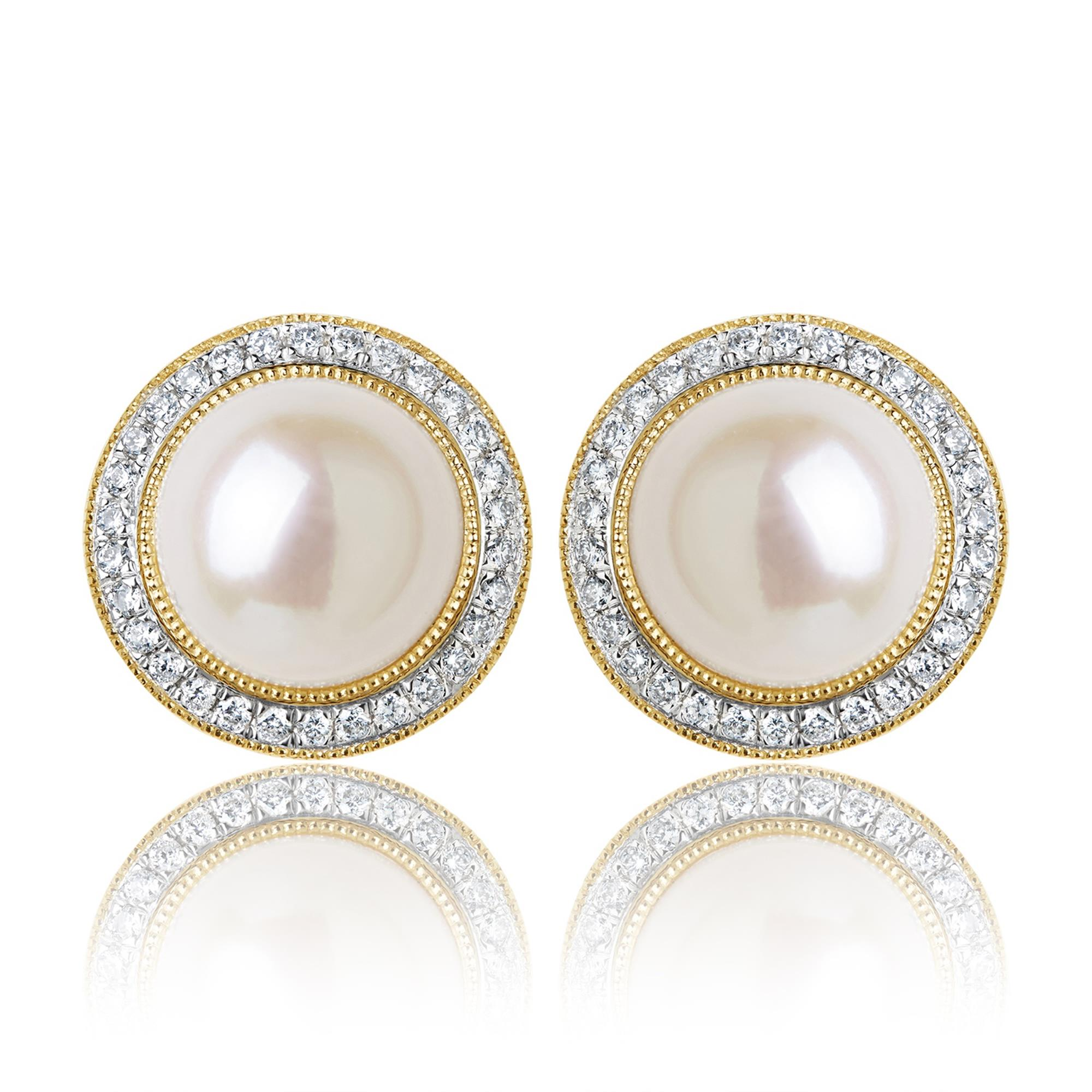 8b4fb4eed 18ct Yellow Gold Pearl and Diamond Halo Earrings | Pravins Jewellers