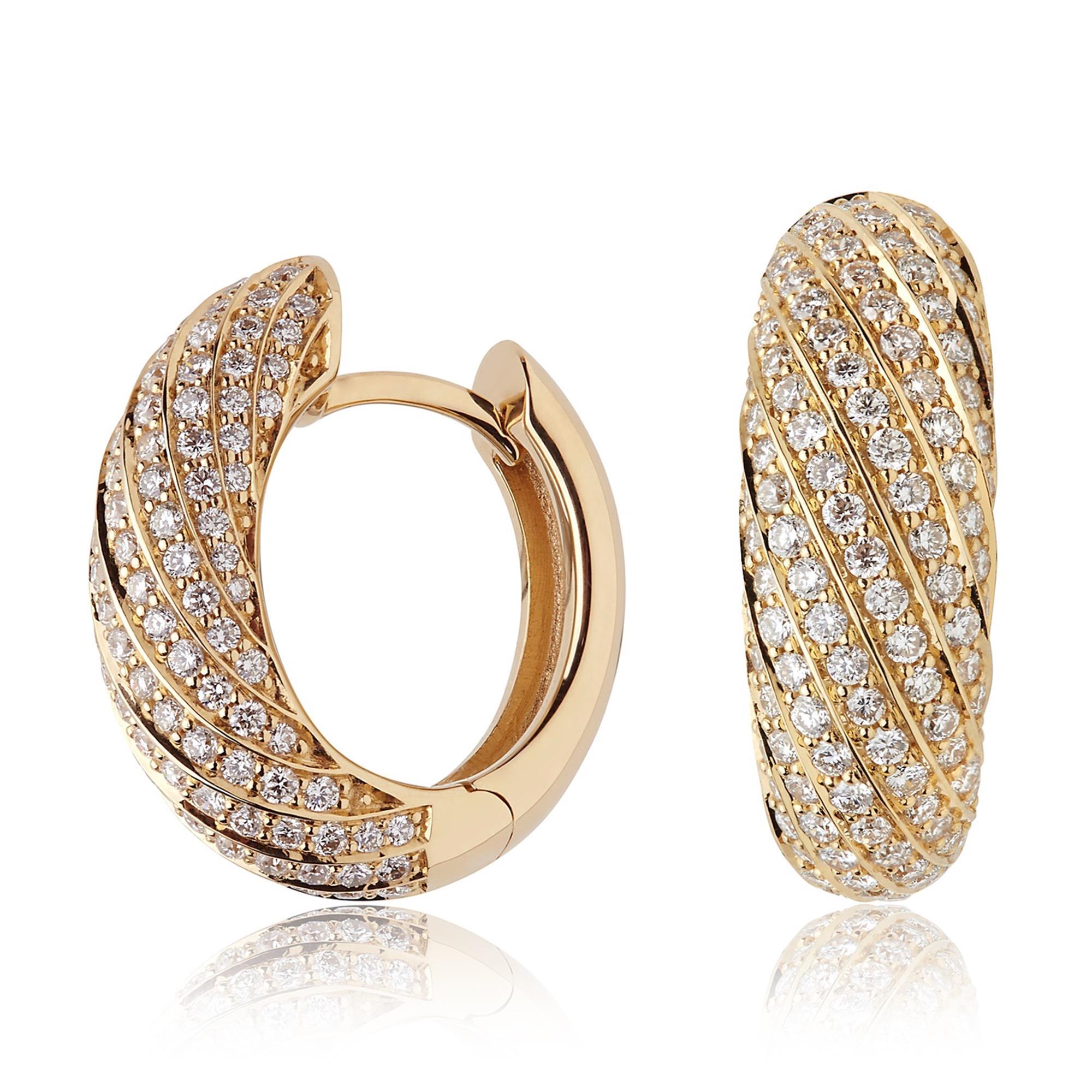 398b5b5765d Aira 18ct Yellow Gold Diamond Hoop Earrings | Pravins Jewellers