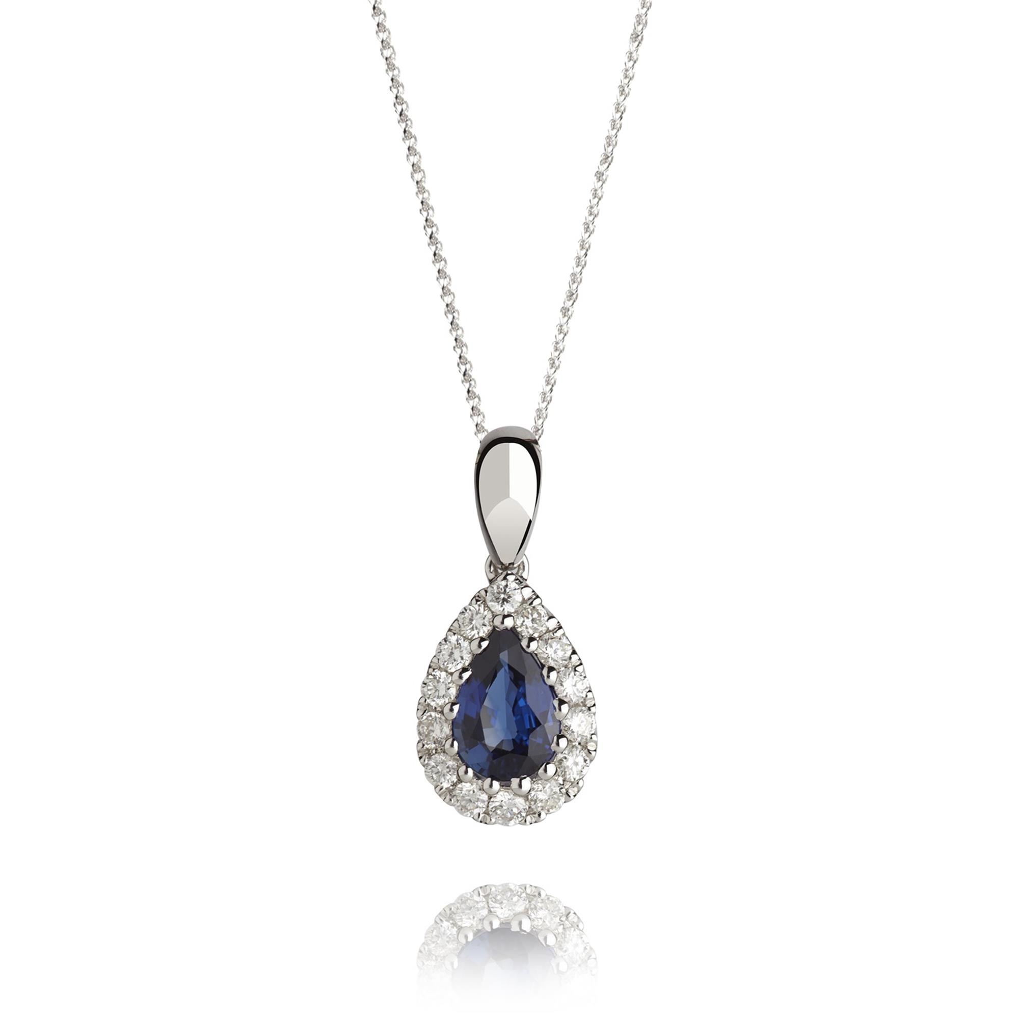 8f0ddef62 18ct White Gold Pear Shape Sapphire and Diamond Pendant | Pravins ...
