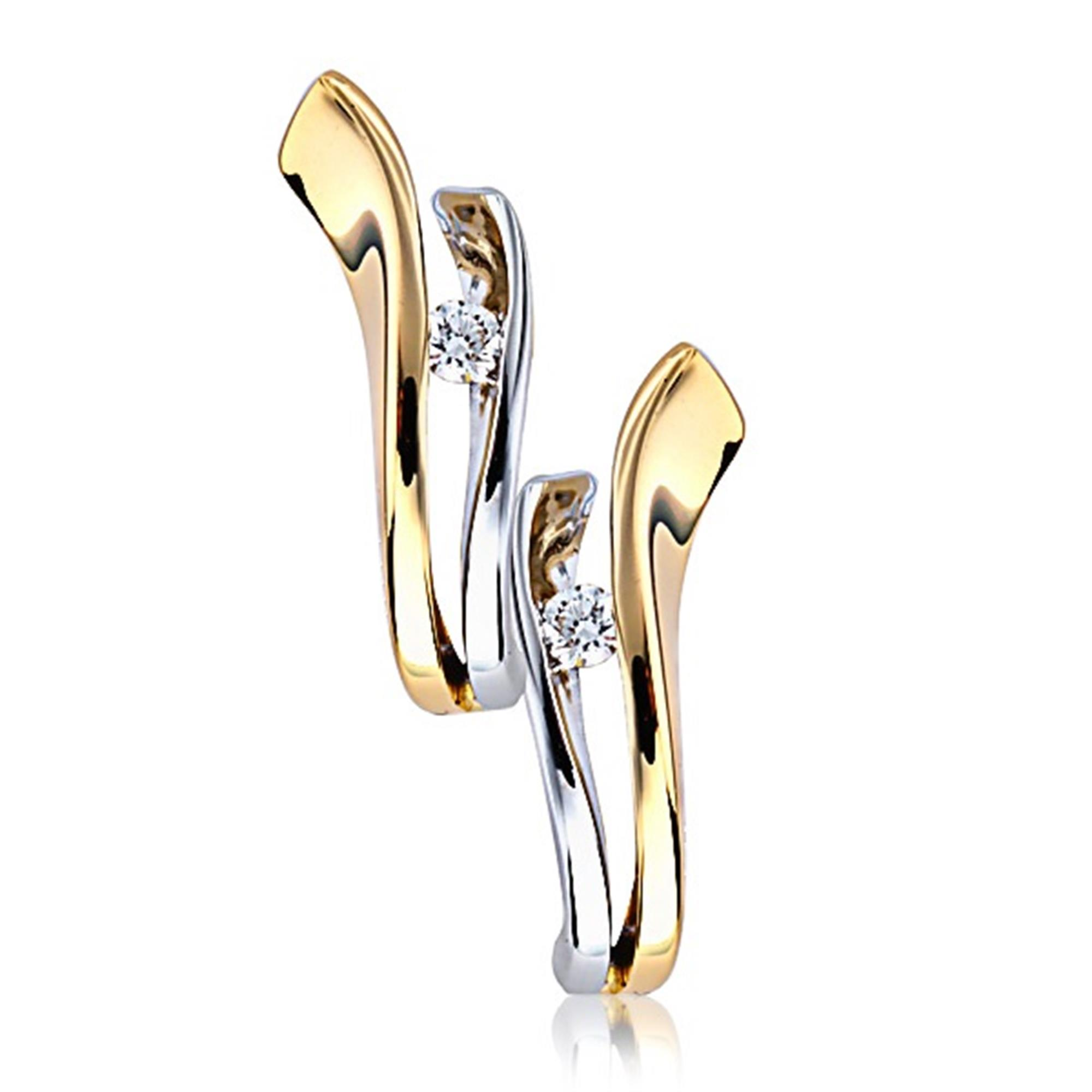 17cfc372eff 18ct Yellow and White Gold Diamond Hoop Earrings | Pravins Jewellers