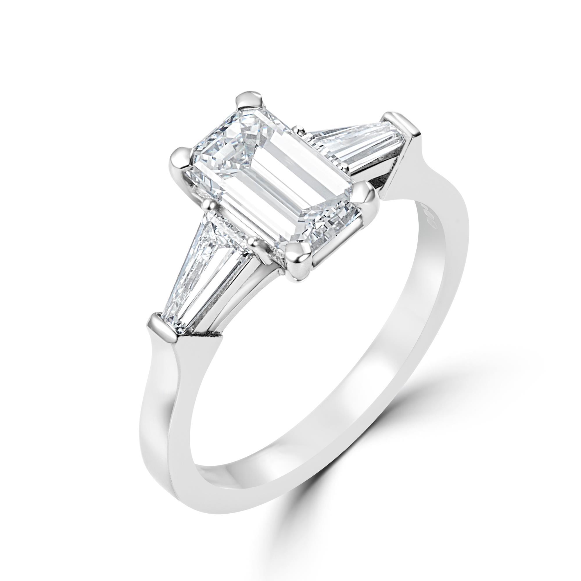 Platinum Emerald Cut And Baguette Diamond Three Stone Ring Pravins