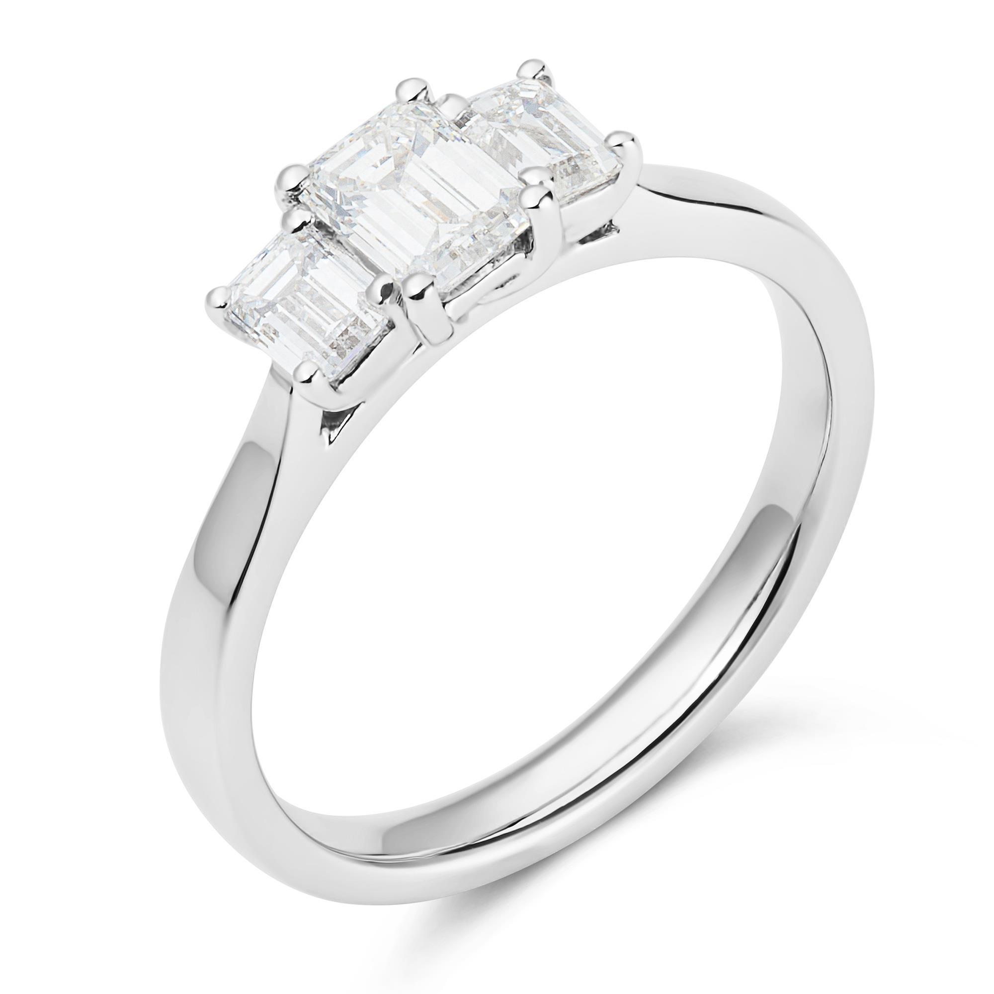 Emerald Cut Diamond Three Stone Ring 0 95ct Pravins