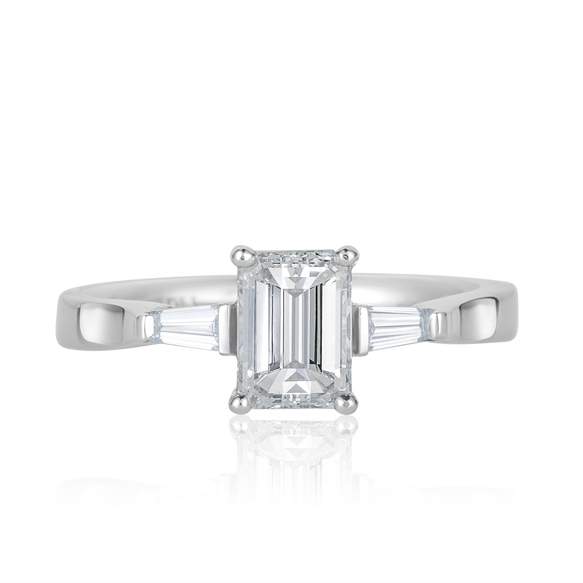 Emerald Cut And Baguette Cut Diamond Ring 1 22ct Pravins
