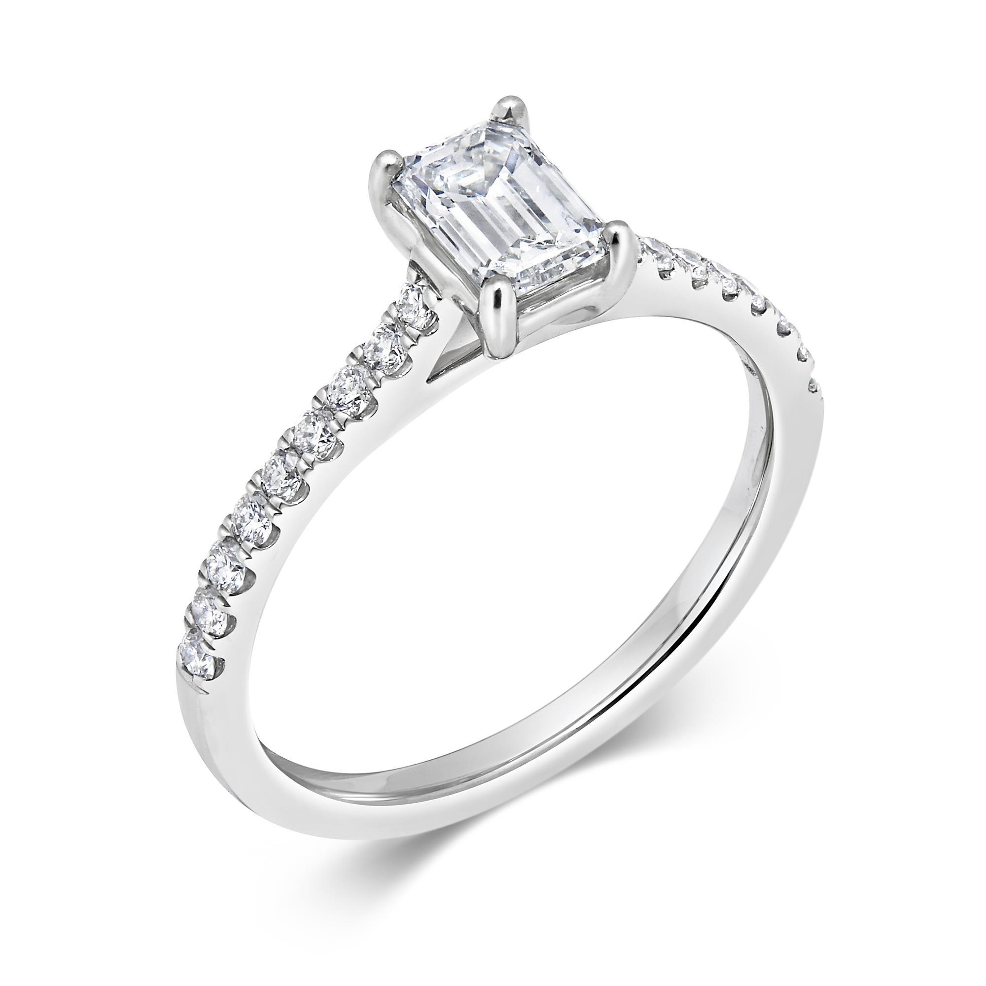 Emerald Cut Diamond Solitaire Ring 0 70ct Pravins
